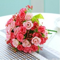 Artificial silk rose flower bouquet ,artificial wedding bouquet , silk flowers for home decoration