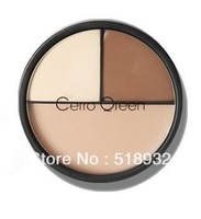 Free Shipping New upgrade Makeup tools professional cerro qreen three-color concealer cream face foundation cream