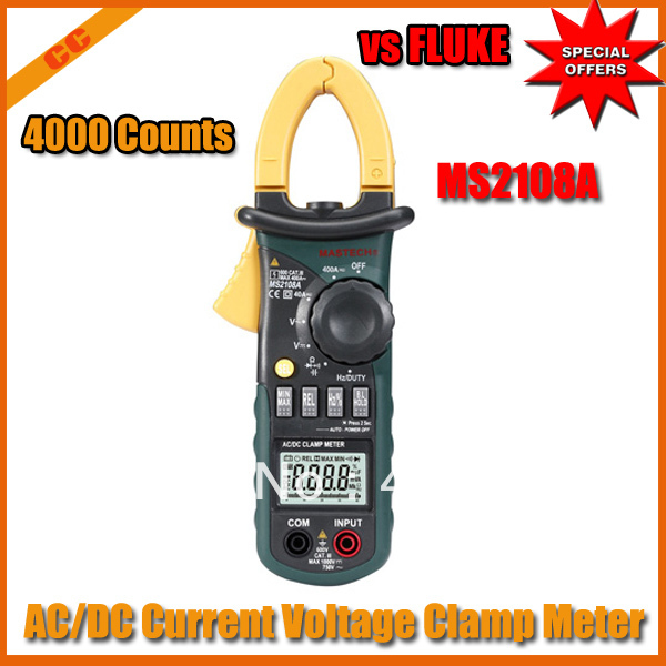 Mastech MS2108A 4000 Counts AC/DC Current Voltage Clamp Meter 2pcs/lot free shipping(China (Mainland))