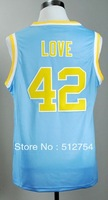 Free Shipping,#42 Kevin Love College Bakstball Jersey,Embroidery logo,Size 44-56,Can Mix Order