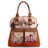 Free Shipping new arrval women's handbag ladies vintage oil painting tote bags british style fashion waterproof shoulder bag