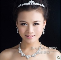 Free shipping!Fashion white red rhinestone  bridal crown necklace earring set  for weddiing SJ009