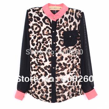 Free Shipping Holiday Sale 2013 New Fashion Women Chiffon Top Blouse Long Sleeve Leopard Shirt  5311