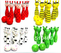 Free Shipping Cute Wooden Animal Style Bowling Toy 4 Colors Bowling Balls Game Baby Intellectual Toys Children 1Set