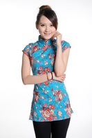 Free shipping! Traditional Chinese Flora Print Cheongsam Tang Suit Qipao Top Blue M-XXL