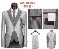 Free Shipping! Hot Sale gray jackets Men's Suit  Slim Fit Men's Business Suit ,Casual suit,Set S-4XL(Jacket+Pants+Tie+Vest )