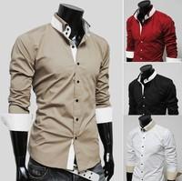 Free Shipping 2013 New Mens Shirts Casual Slim Fit Stylish Hot Dress Shirts ,10 colors,Size:M-XXL, MCLA24