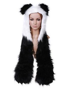 Cartoon Animal Hat Panda Cap Plush Soft Warm Hats Earmuff Scarf Panda Hat wholesale