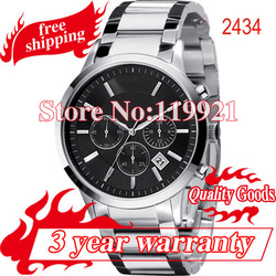 New Chronograph Watch Men Stainless Steel Black Dial Wrist Watch 2434+ original box(China (Mainland))