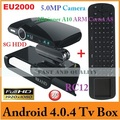 EU2000 Android TV Box WiFi HDMI 1080P with 5.0MP Camera and MIC RAM 1G/8G AV Output + RC12 Fly Mouse(1 Lot=1pc EU2000+1pc RC12)