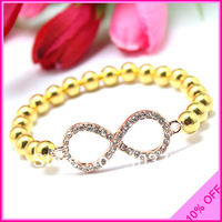 Free Shipping ! Fashion Style Mix Color Crystal Infinity Bracelets With Brass Beads Wholesale