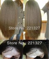 New 20 inch Human Hair Malaysian Virgin Italian Yaki Full Lace Wig with DHL free shipping