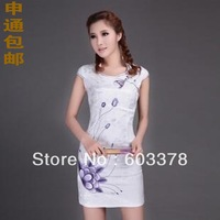 Free shipping + Hot-selling chinese stylish dress summer cheongsam 9613 for fashion ladies' evening & party dress