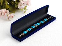 "velvet necklace box/case  size 220*50*28mm/8.6""*1.9""*1.1"" navy blue inner black packaging jewelry box packing wedding gift box"