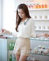 2014 Summer & Autumn elegant embroidered peter pan collar chiffon shirt long-sleeve casual women's shirt top