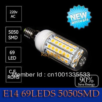 10W 5050 SMD 69LED  7w 48leds  5w 27 led Corn Bulb Light e14 LED Lamp Cool White | Warm White 220V Free shipping