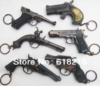 Free shipping 6 pcs / lot pocket-size metal Imitation gun model pistol child revolver toy handgun models keychain 852