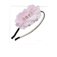 2013 new 12colors wholesale 4inch fashion chiffon Flower With metal hair band pearls rhinestone flower oval flower with headband