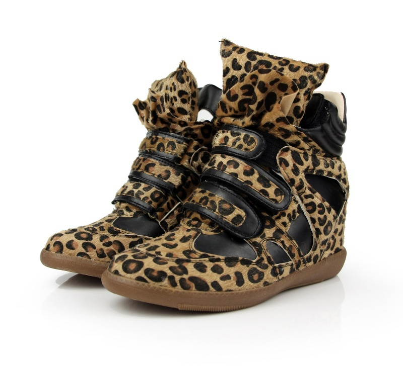 Handmade Womens Platform Hip Hop Wedge Classic Leopard,Black Sneaker,Have Big Size,EUR35-41(China (Mainland))