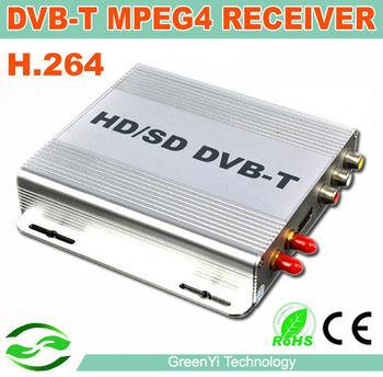 Auto Mobile DVB-T MPEG4 Car Mobile HD/SD Digital TV Receiver Box DVB T Tuner Fit For EU Car DVD Connect via AUX in FreeShiping