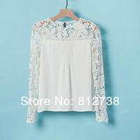 Free shipping 2012 autum women's t- shirt plaid women's chiffon shirt long-sleeve color block decoration chiffon