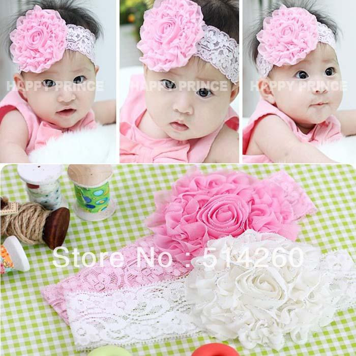 Dentelle élastique désordre fleur bandeaux bébé fleur filles bandeau bébé enfants accessoires pour cheveux fleur hairband12pcs/beaucoup.