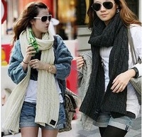 free shipping Autumn and winter ultra long thermal yarn scarf lovers thickening knitted muffler scarf female