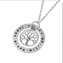 Family tree silver necklace engraved name pendent(China (Mainland))