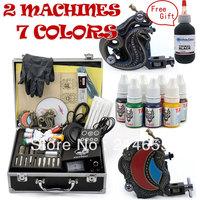 Complete Tattoo Kit Power Supply 50 Needles 2 Machine Guns 7 Inks Tattoo Accessories 1 Free Gift #WSN-A2001