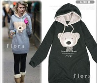 wholesale  2013 NEW hoodie long top pullover, winter coat,garment coat,women's coat,hoodie Cute teddy bear printed