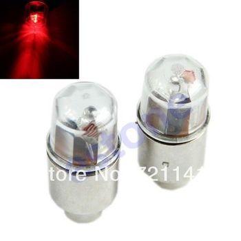 J34 Free Shipping 1 Pair Motor Cycling Bike Bicycle Neon LED Spoke Valve Cap Alarm Wheel Lights R