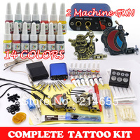Complete Tattoo Kit 2 Machine Guns 14 Bottles 5ml Ink/Pigment 50 Needles Tattoo Set Supply Accessories #WSN-A2002