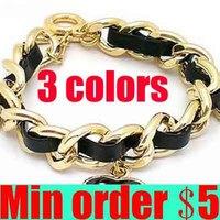 (Min order $5,can mix) 3 Colors Punk Metal Braid Bracelet Pendants Leather Bracelet Charm Bracelet