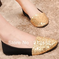 Free/drop shipping 2014 spring new ballerina girls fashion glitter flats for women ladies shoes woman casual princess