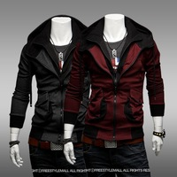 2013 double-Zip Hooded hoodies spring new fashion leisure double collar hooded jacket 126052