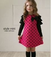 4pcs girls red dots dress childrens dot bow dresses free shipping