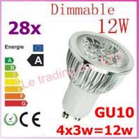 28pcs Dimmable GU10 4X3W 12W 4-CREE LEDS Led Lamp Spotlight 85V-265V Led Light downlight High Power free shipping