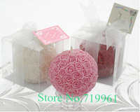 Wholesale rose ball-shape candle sales as Christmas birthday wedding Party Bithday New year Valentine's days gifts 4pcs/lot