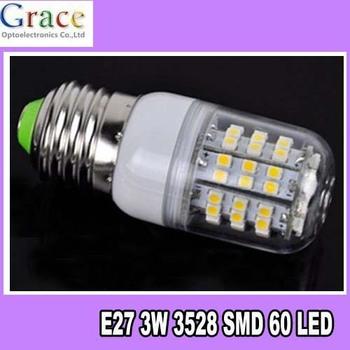 Free Shipping 10pcs/Lot New 1x SMD 3528 60 LED Light E27 Bulb Lamp Warm White 200V-240 With Transparent Cover
