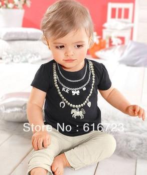 Wholesale -- free shipping 2013 stylish Girls baby clothes set , short-sleeved shirt  +  pants , Girls Set 5set/lot