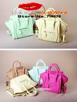 FREE SHIPPING 2014 candy colorful handbag classic smiley bag fashion designer women leather messenger bag shoulder bag for lady