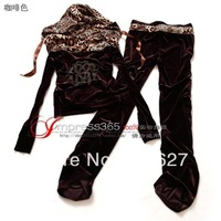 Free Shipping 2013 Brand New Style Women's Leopard Hat Fashion Leisure Sports Slim Gold Velvet Set
