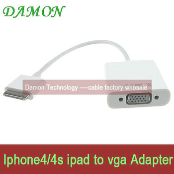 1pcs vga Adapter cable dock 30pin to vga convertor 1080P HD resulation free shipping