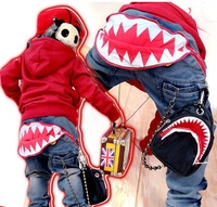 NZ-002,Free shipping 2013 new arrive baby boy pants cool boy Shark Teeth print ZIP jeans 2-7Year child trousers Wholesale/Retail
