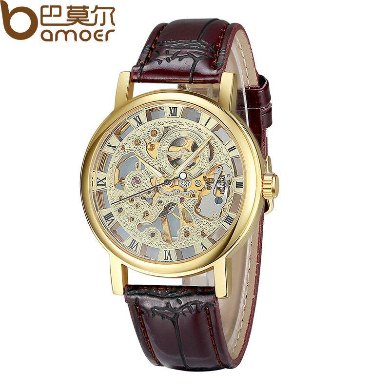 L'arrivée de nouveaux 2014 manuel en cuir à la main Éolienne mécanique squelette montres pour les hommes de la mode vintage wa1001 montre bracelet homme
