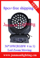 8pcs Touch Panel 36*10W RGBW 4 in 1 Led Zoom Moving Head Light Led Wash Light Led Stage Lighting Led Moving Head Free Shipping