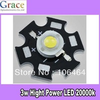 NEW 10PCS 3W High Power White LED Light Emitter 20000K with 20mm Heatsink