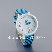 9642 WaMaGe quartz watch women Ladies Fashion Color Stripes Strap Wrist Watch (White)