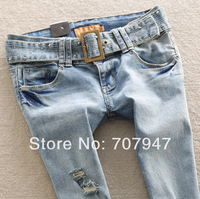 Free shipping 2014 spring light blue jeans hole ripped jeans for women with belt slim skinny jeans All match pencil pants jeans
