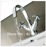 Free Ship Dual  Lever Brass Bathroom Kitchen Basin Mixer Tap Chrome Vessel Faucet 3208